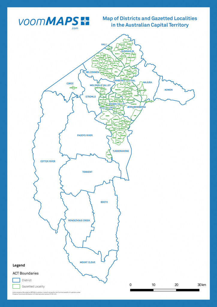 Map Of Canberra Suburbs – Voommaps with regard to Printable Map Of Canberra