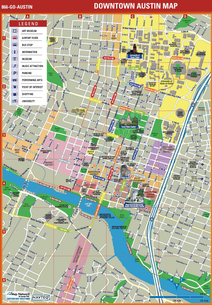 Map Of Downtown Austin - Map Downtown Austin (Texas - Usa) pertaining to Printable Map Of Austin Tx