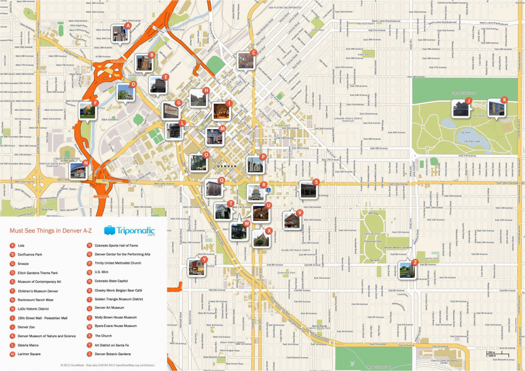 Map Of Downtown Colorado Springs Denver Printable Tourist Map Free intended for Printable Map Of Colorado Springs