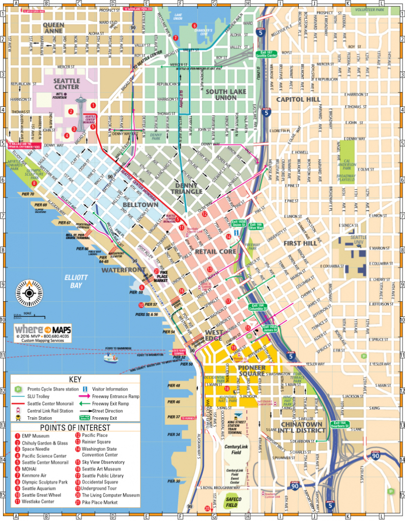 Map Of Downtown Seattle: Interactive And Printable Maps | Wheretraveler within Printable Map Of Seattle