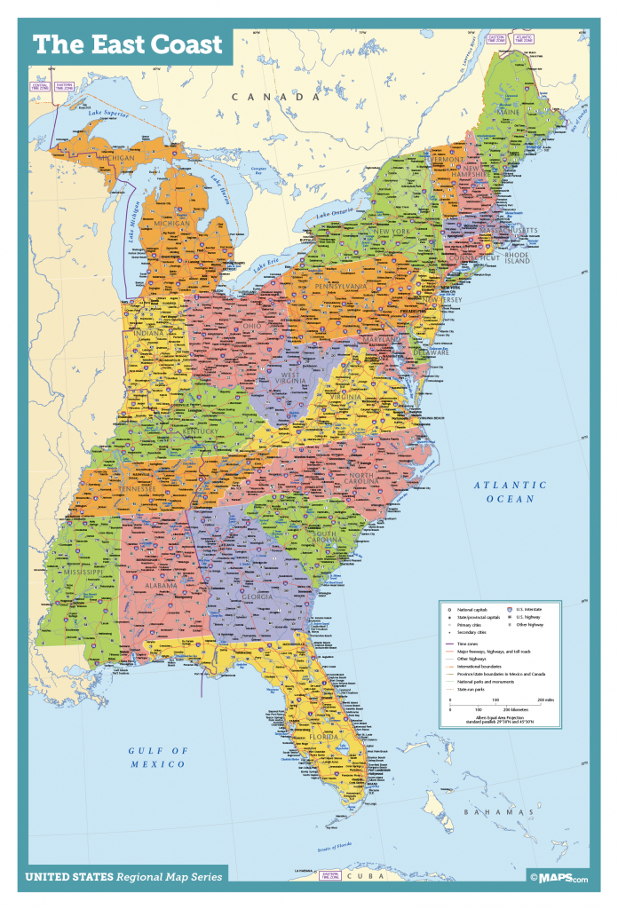 Map Of East Coast Usa States With Cities Map United States Printable intended for Printable Map Of Usa With States And Cities