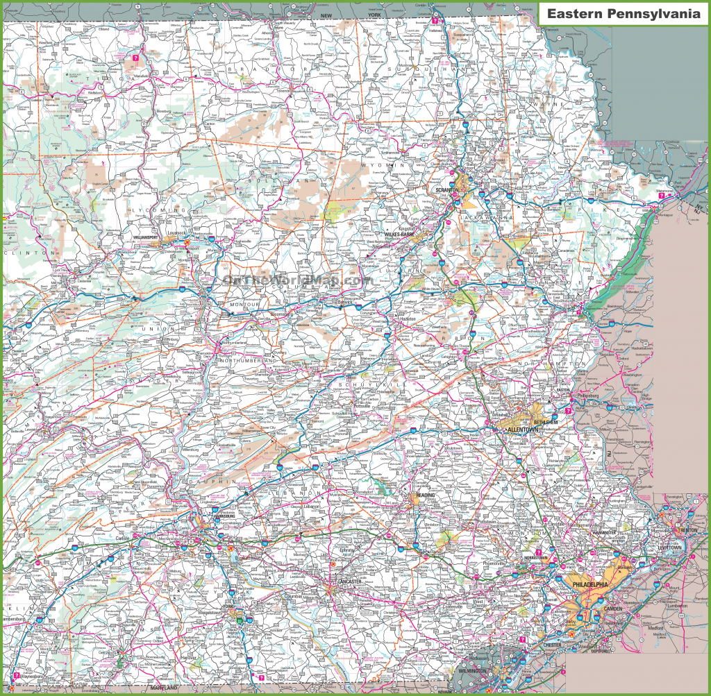 Map Of Eastern Pennsylvania inside Printable Map Of Pennsylvania