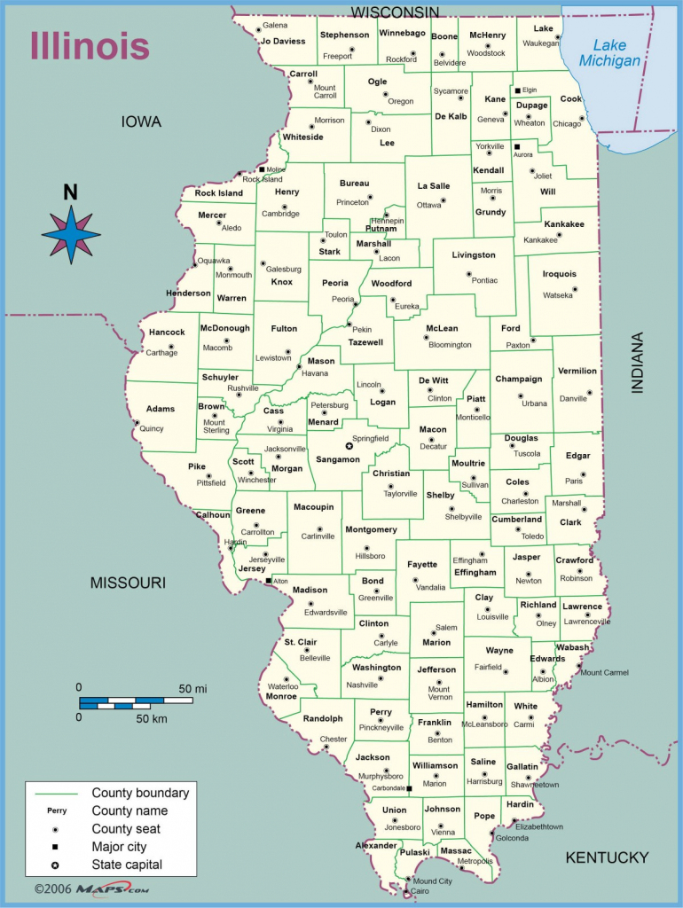 Map Of Illinois Counties With Names Towns Cities Printable regarding Illinois County Map With Cities Printable