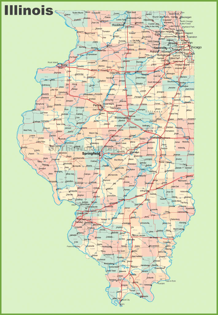 Map Of Illinois With Cities And Towns intended for Printable Map Of Illinois