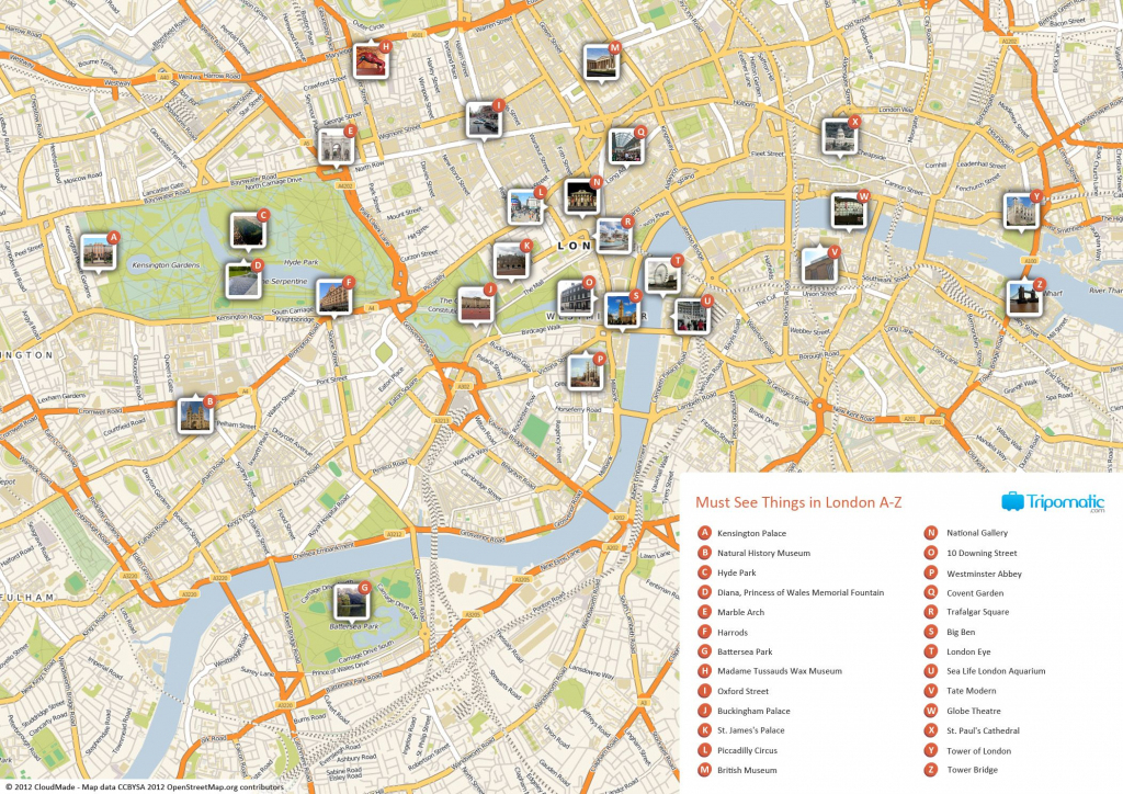 Map Of London With Must See Sights And Attractions. Free Printable with London Tourist Map Printable