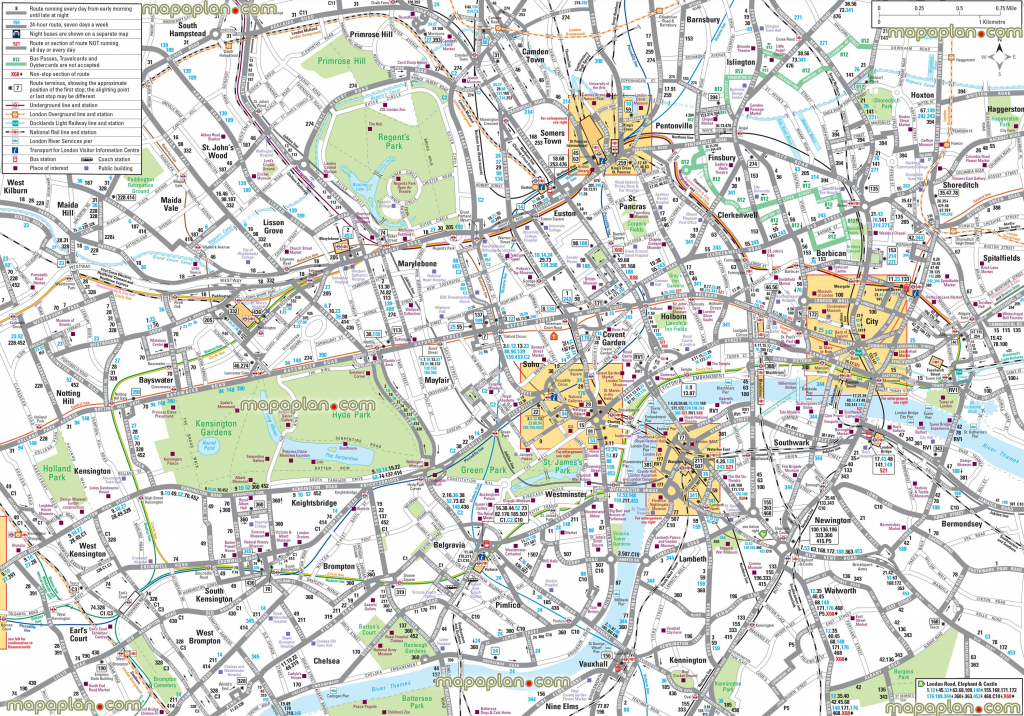 Map Of London With Tourist Attractions Download Printable Street Map in Printable Map Of London