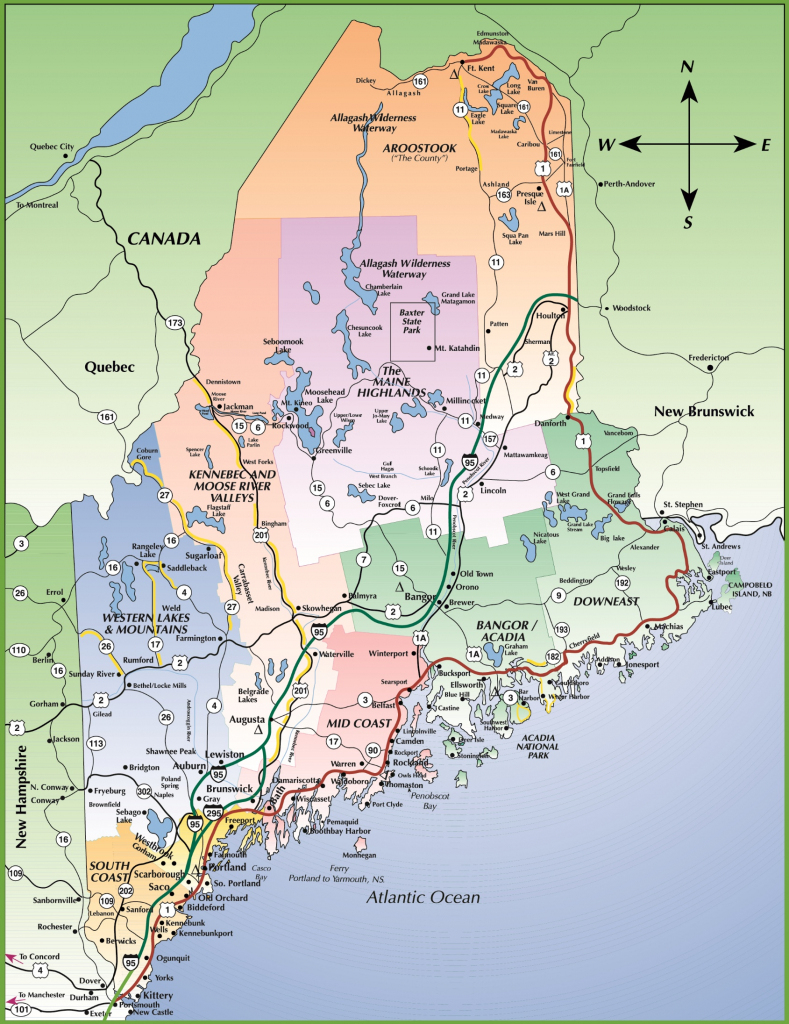 Map Of Maine Coast in Printable Map Of Maine