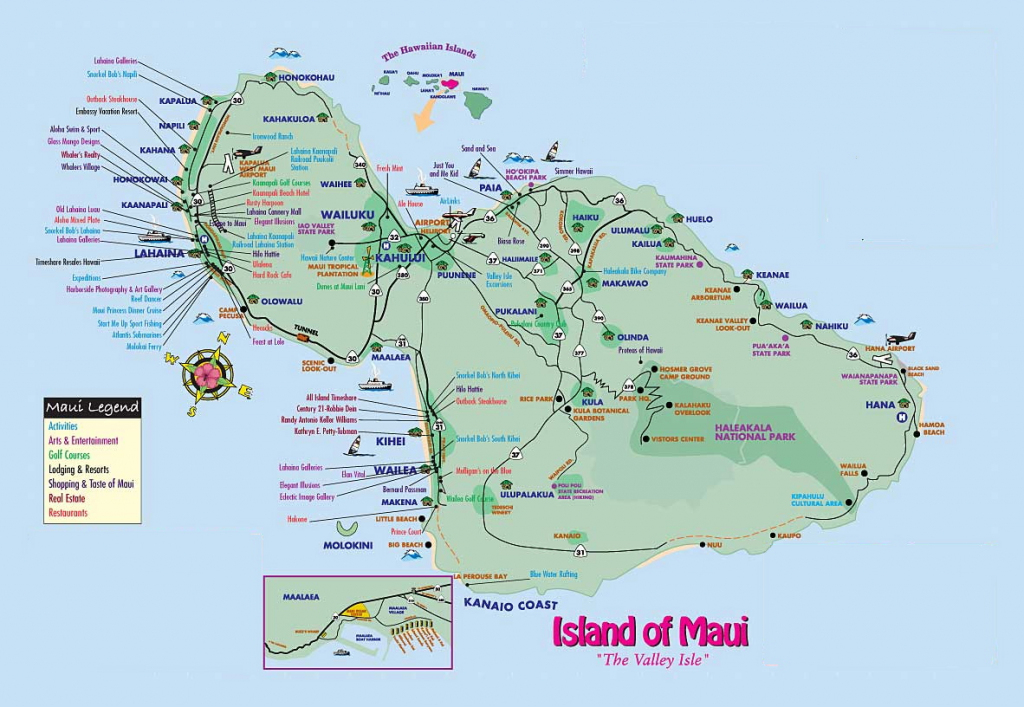 Map Of Maui Hawaii   Afputra intended for Maui Road Map Printable