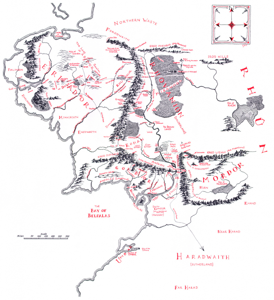 Map Of Middle-Earth - J.r.r. Tolkien intended for Printable Lord Of The Rings Map