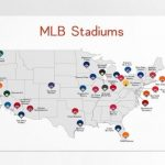 Map Of Mlb Ballparks Baseball Stadiums Mlb Stadium Print Etsy With Printable Map Of Mlb Stadiums