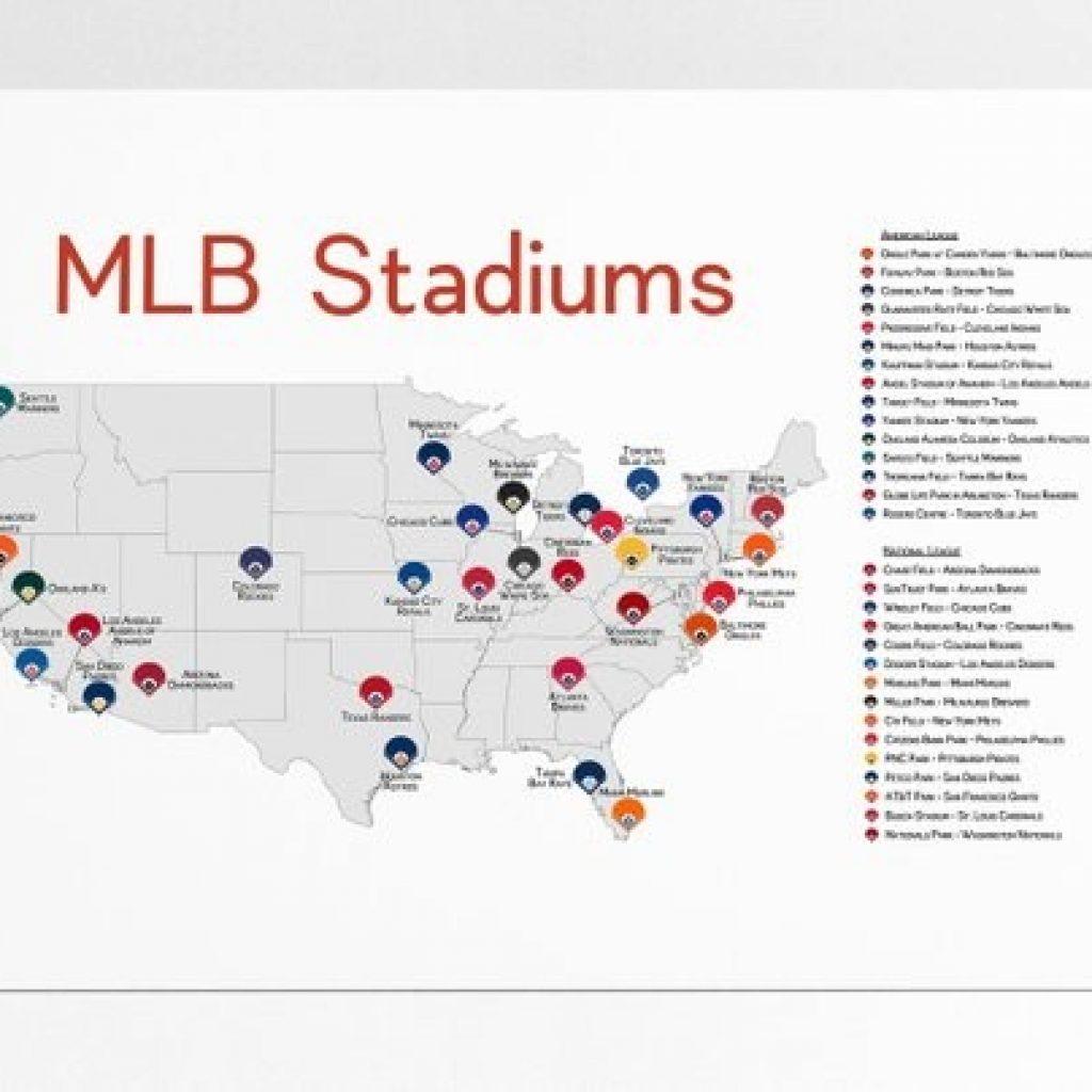 Map Of Mlb Ballparks Stadium Checklist Baseball Stadiums Mlb Etsy with Printable Map Of Mlb Stadiums