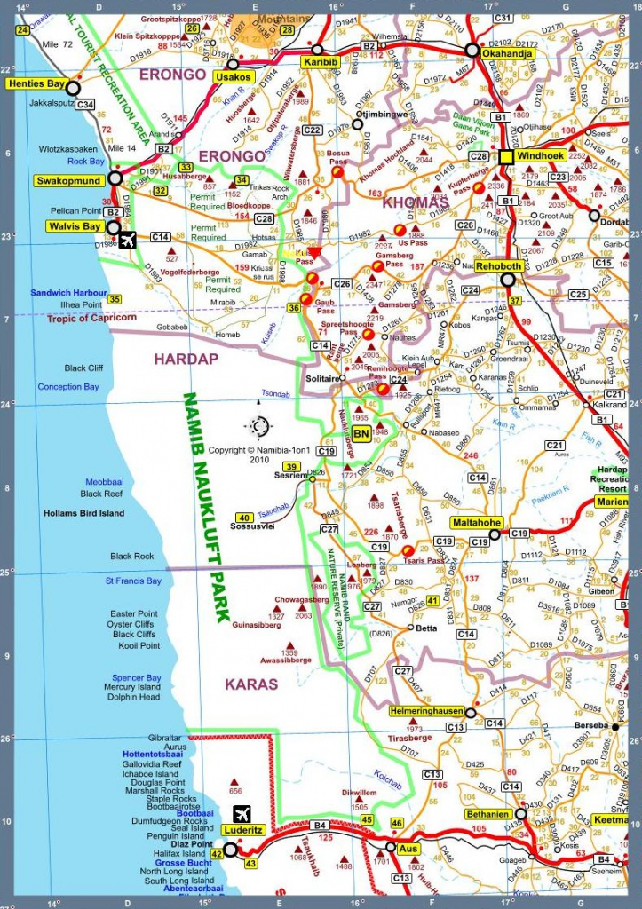 Map Of Namibia Africa Road Map F Version 2010 pertaining to Printable Road Map Of Namibia