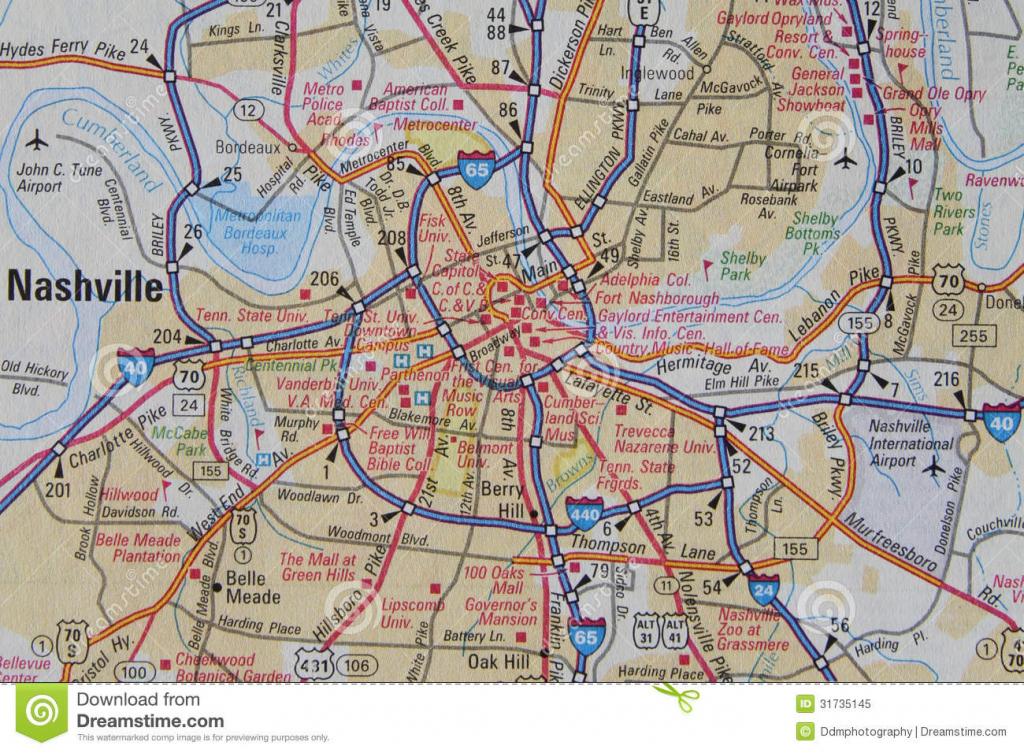 Map Of Nashville, Tn Stock Image. Image Of Macro, Highway - 31735145 within Printable Map Of Nashville Tn