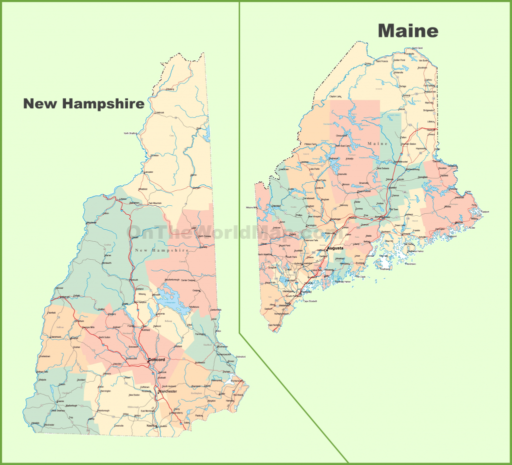 Map Of New Hampshire And Maine with regard to Printable Map Of New Hampshire