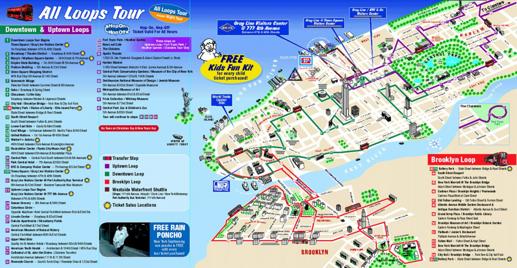 Map Of New York City Attractions Printable |  Tourist Map Of New intended for Map Of Nyc Attractions Printable