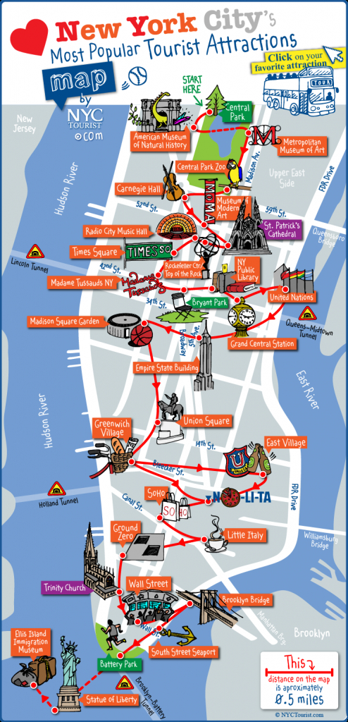 Map Of Nyc Tourist Attractions, Sightseeing & Tourist Tour regarding New York Printable Map Pdf