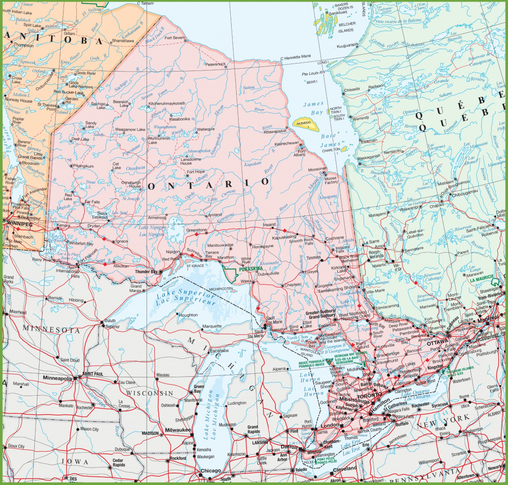 Map Of Ontario With Cities And Towns with regard to Printable Map Of Ontario