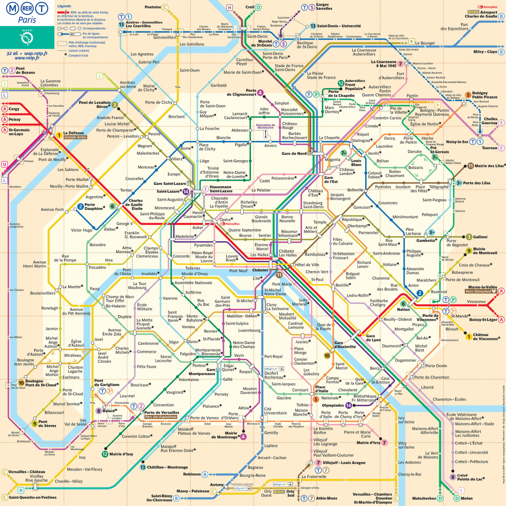 Map Of Paris Subway, Underground & Tube (Metro): Stations & Lines with Printable Paris Metro Map