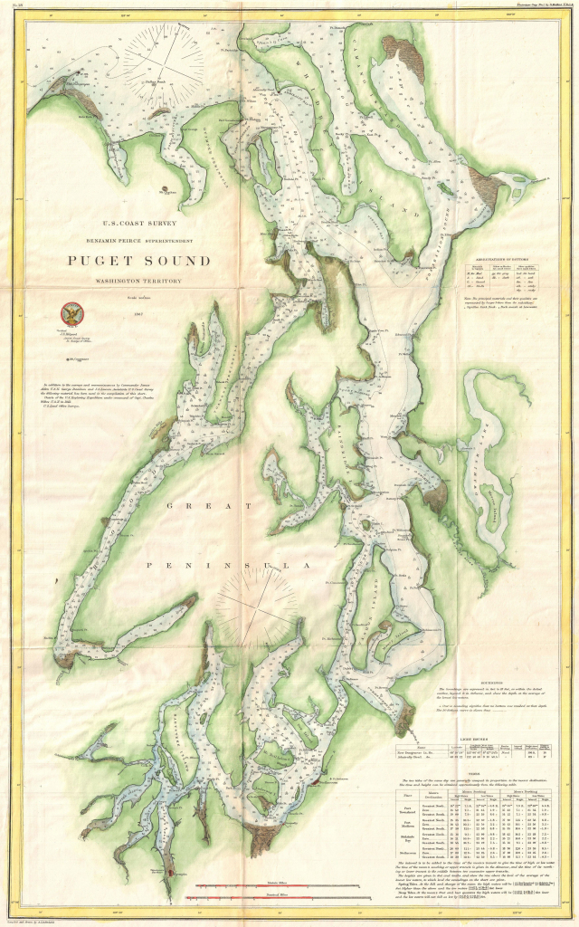 Map Of Puget Sound From 1867 | Washington In 2019 | Seattle Map intended for Vashon Island Map Printable