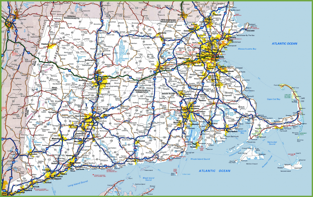 Map Of Rhode Island, Massachusetts And Connecticut inside Printable Map Of Massachusetts