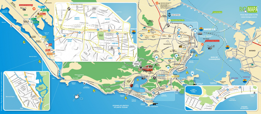 Map Of Rio De Janeiro Tourist Attractions, Sightseeing & Tourist Tour in Printable Map Of Rio De Janeiro
