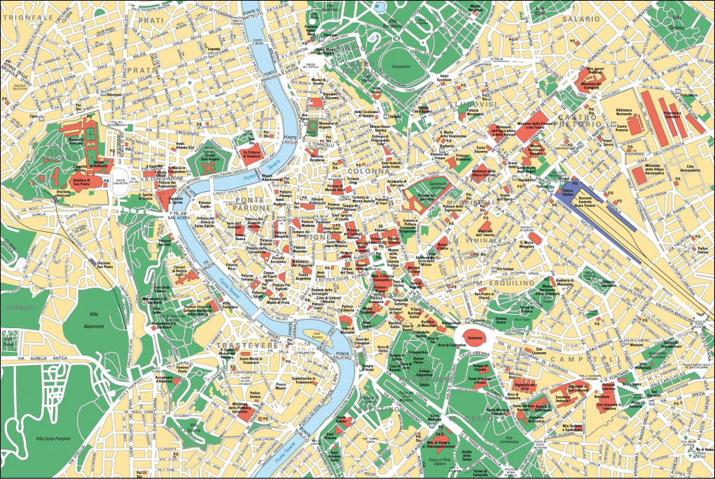 Map Of Rome Tourist Attractions, Sightseeing & Tourist Tour with Rome City Map Printable