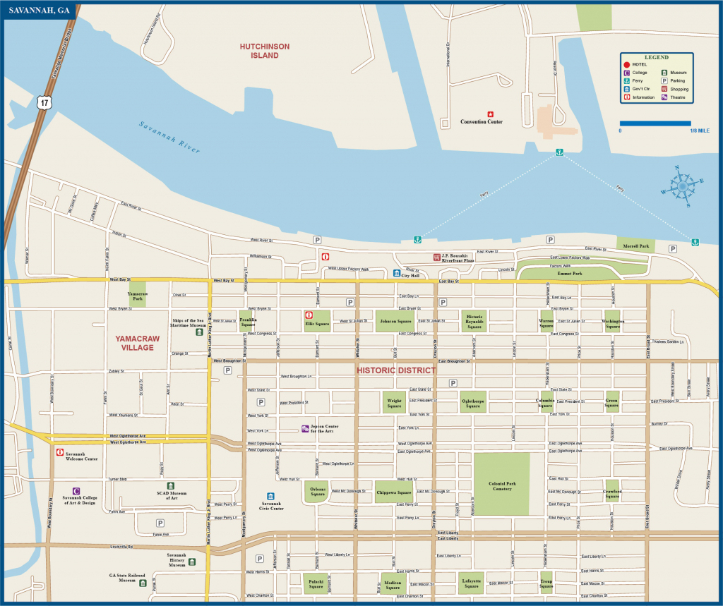 Map Of Savannah Airport Historic District Squares Area River Site Free with Printable Map Of Savannah Ga Historic District