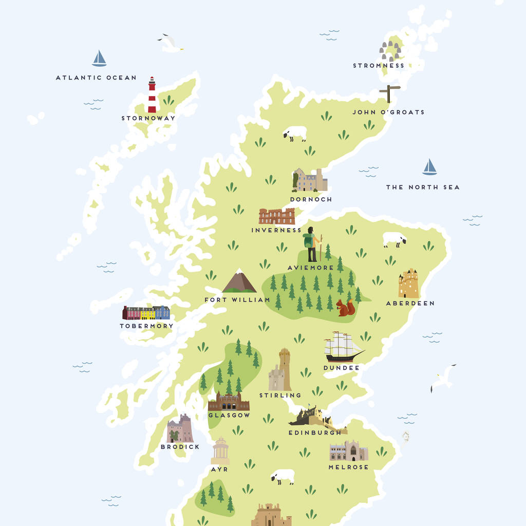 Map Of Scotland Printpepper Pot Studios | Notonthehighstreet for Printable Map Of Scotland