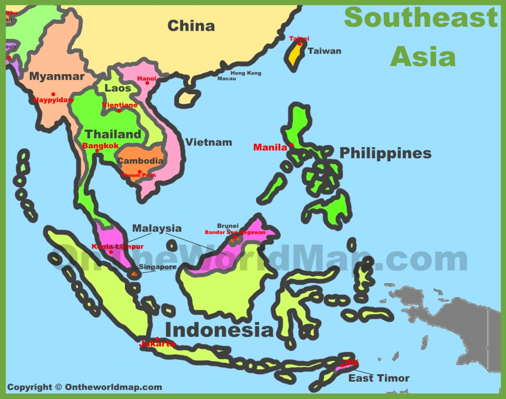 Map Of Southeast Asia (Southeastern Asia) in Printable Map Of Southeast Asia