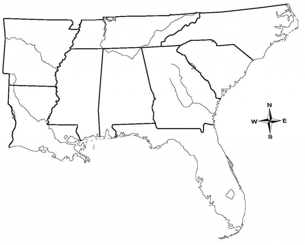 Map Of Southern United States Region And Travel Information throughout Southeast States Map Printable