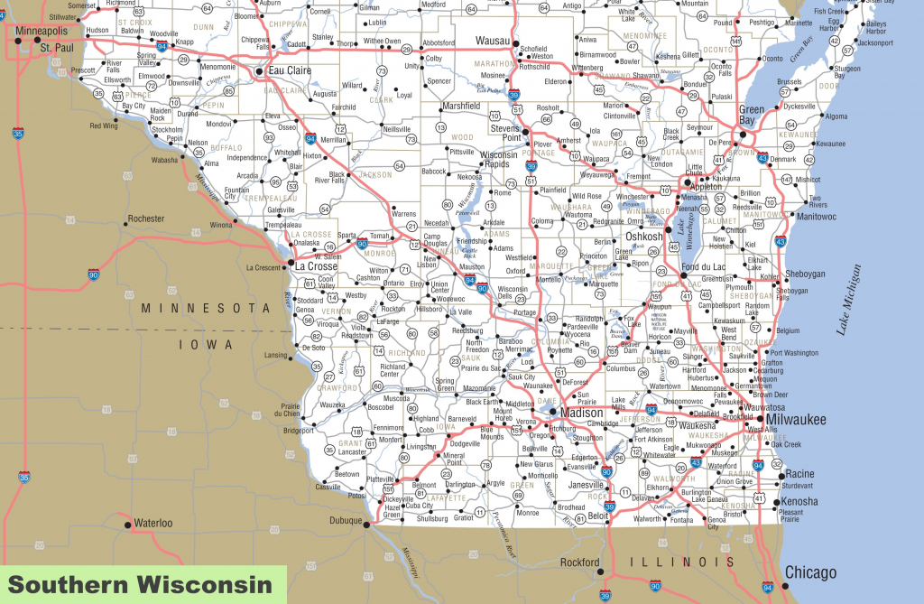 Map Of Southern Wisconsin regarding Wisconsin Road Map Printable