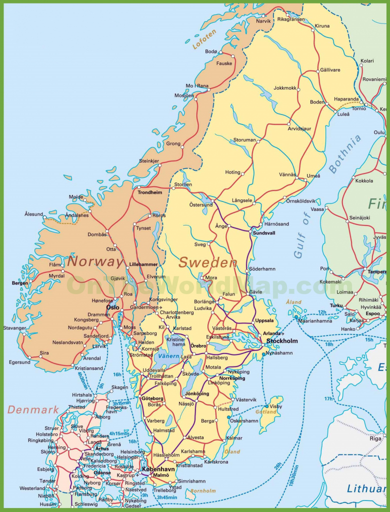 Map Of Sweden, Norway And Denmark for Printable Map Of Norway With Cities