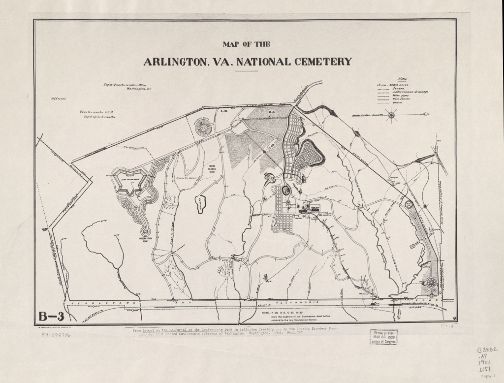 Map Of The Arlington, Va. National Cemetery   Library Of Congress throughout Printable Map Of Arlington National Cemetery