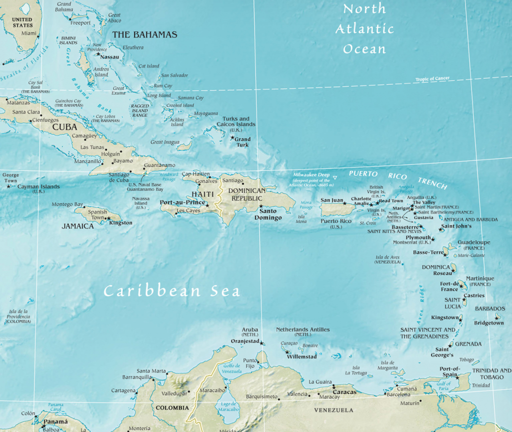 Map Of The Caribbean Region intended for Maps Of Caribbean Islands Printable
