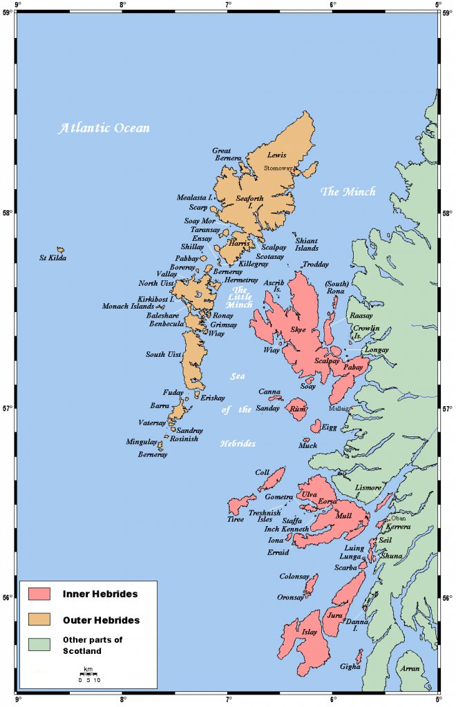 Map Of The Inner And Outer Hebrides Off Of The West Coast Of for Printable Map Of Mull