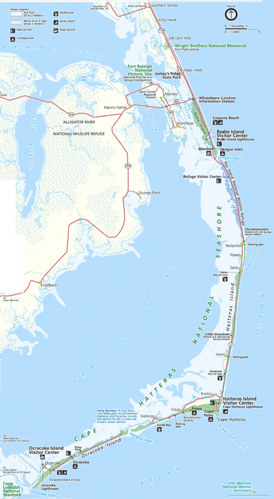 Map Of The Outer Banks Including Hatteras And Ocracoke Islands with Printable Map Of Outer Banks Nc