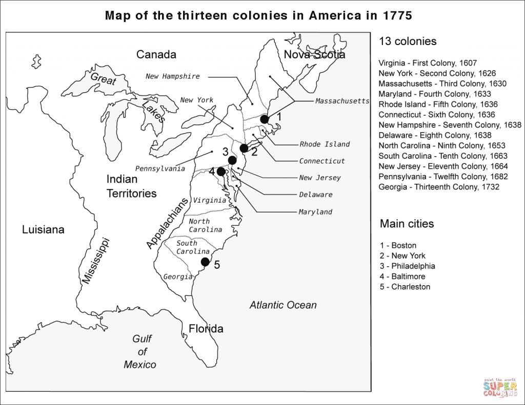 Map Of The Thirteen Colonies With Cities #82171 pertaining to Printable Map Of The 13 Colonies With Names