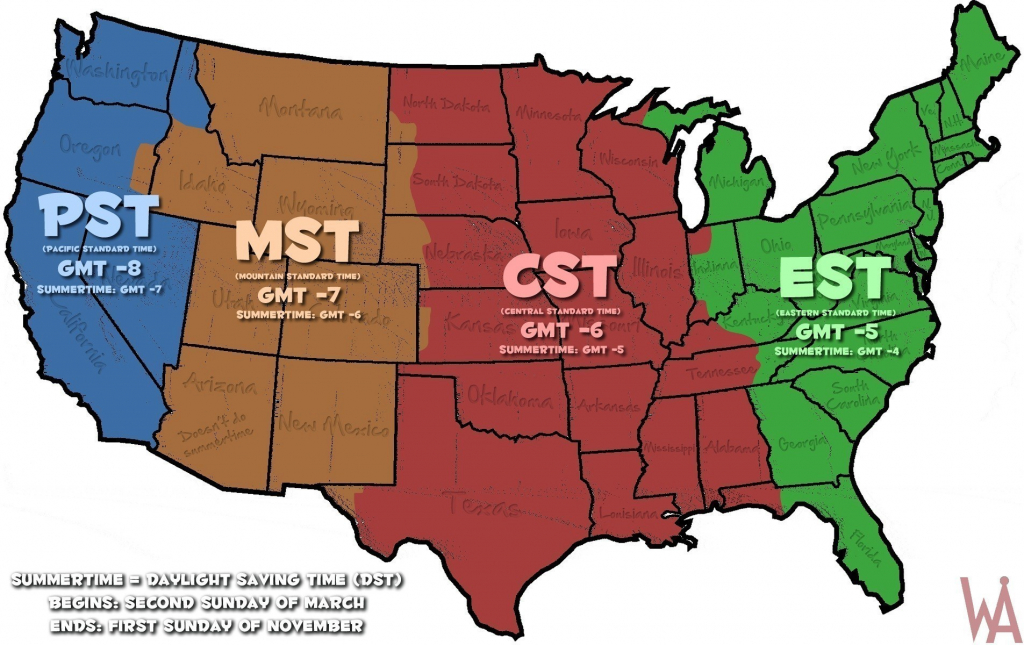 Map Of Time Zones In The Us Usa Time Zone Map Inspirational throughout Printable Time Zone Map