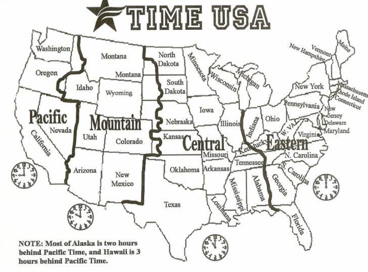 Printable Us Timezone Map