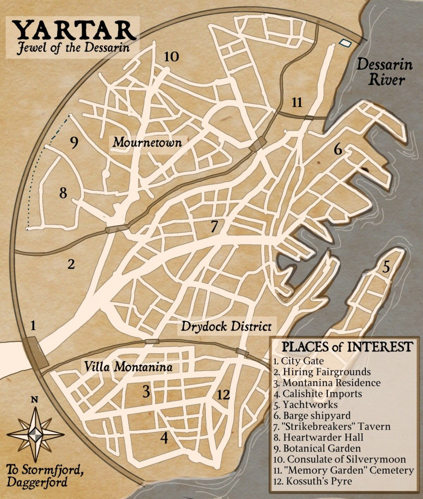 Map Of Yartar | Storm King's Thunder | Fantasy City Map, Fantasy Map with Storm King's Thunder Printable Maps