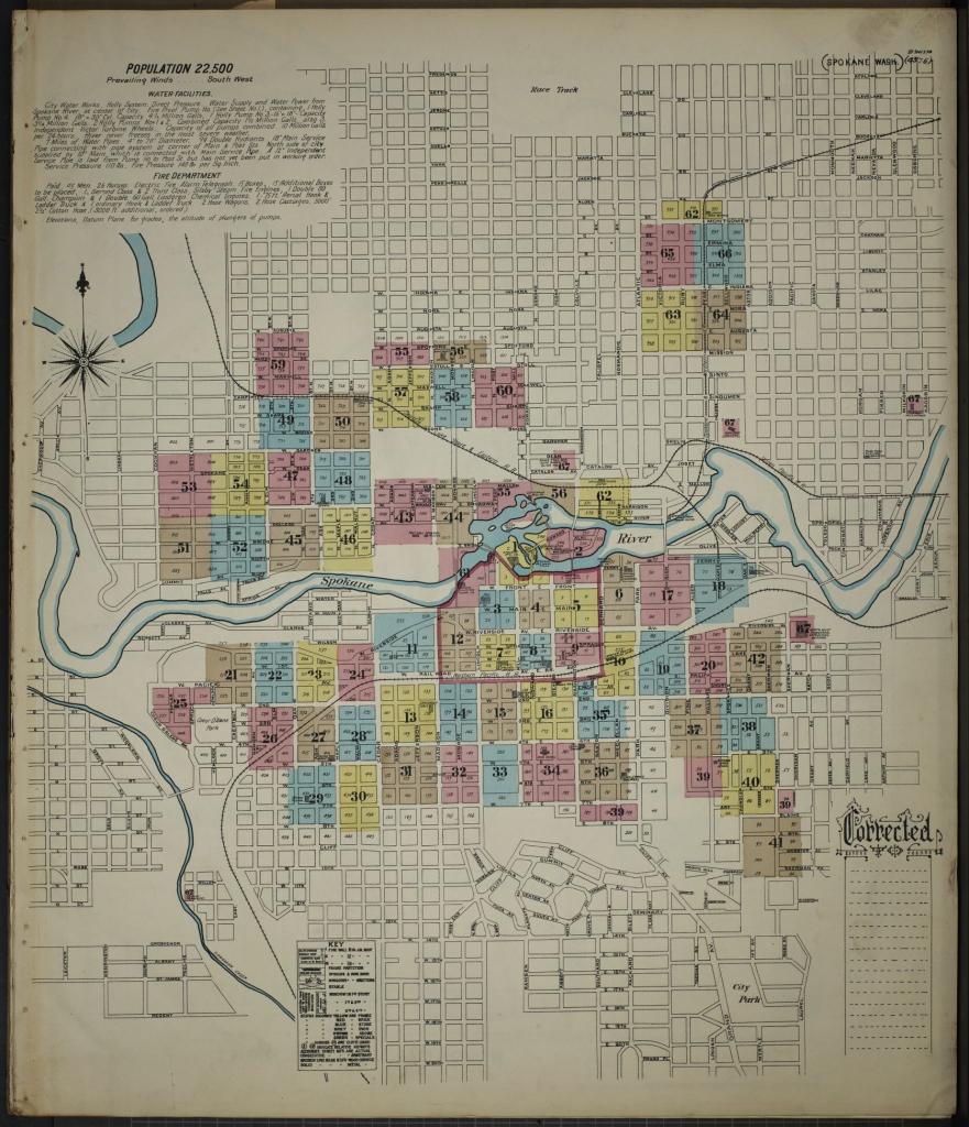 Map, Washington, Spokane | Library Of Congress for Downtown Spokane Map Printable