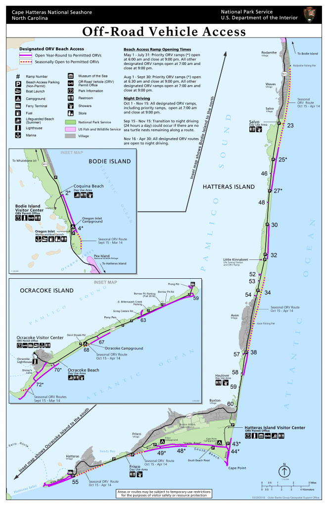 Maps - Cape Hatteras National Seashore (U.s. National Park Service) for Printable Map Of Outer Banks Nc
