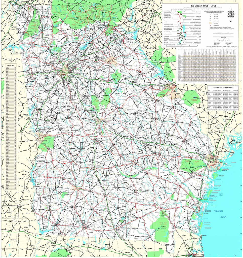 Maps - Georgia Department Of Transportation Highway Map 1999-2000 (3 throughout Georgia Road Map Printable