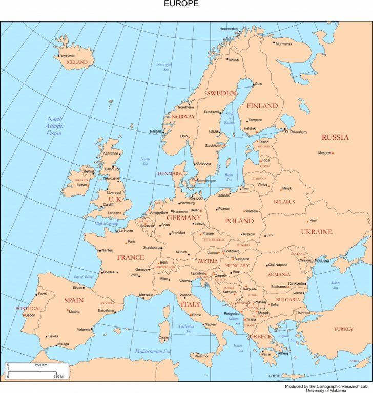 Europe Map With Cities Printable