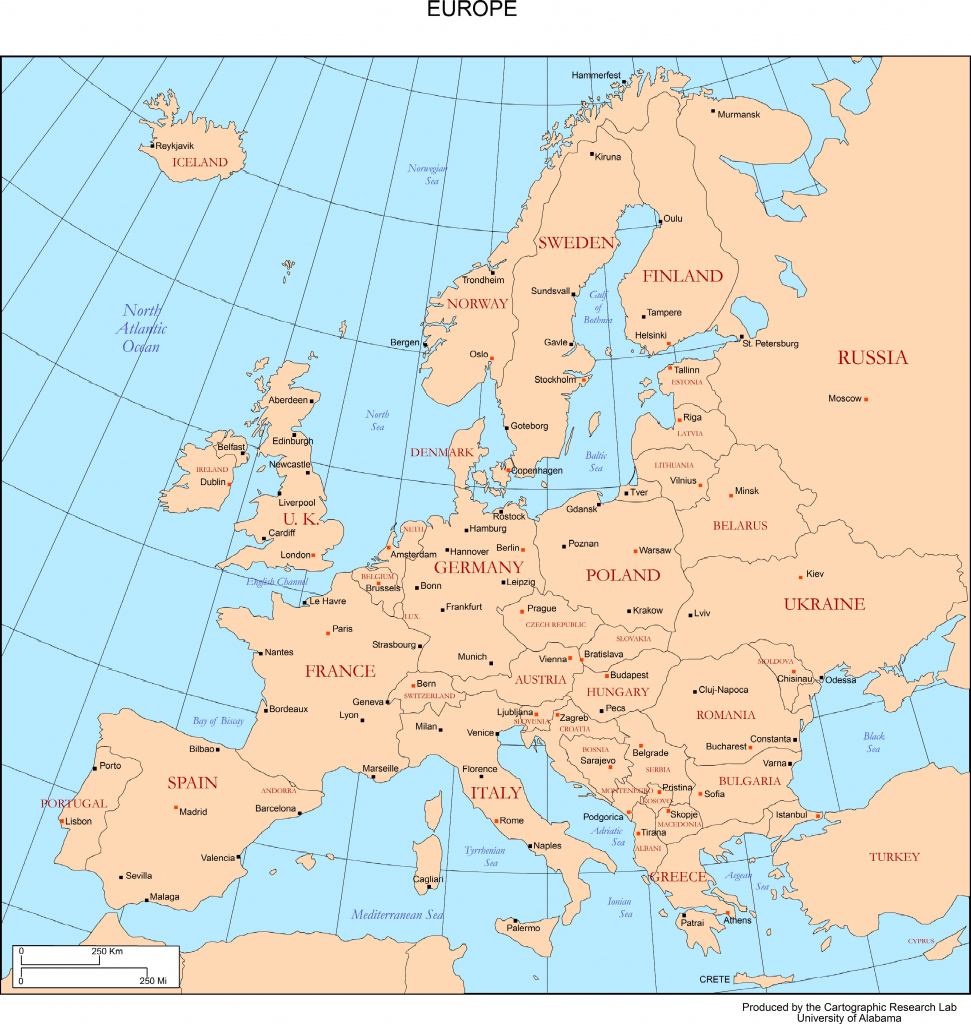 Maps Of Europe in Europe Map With Cities Printable