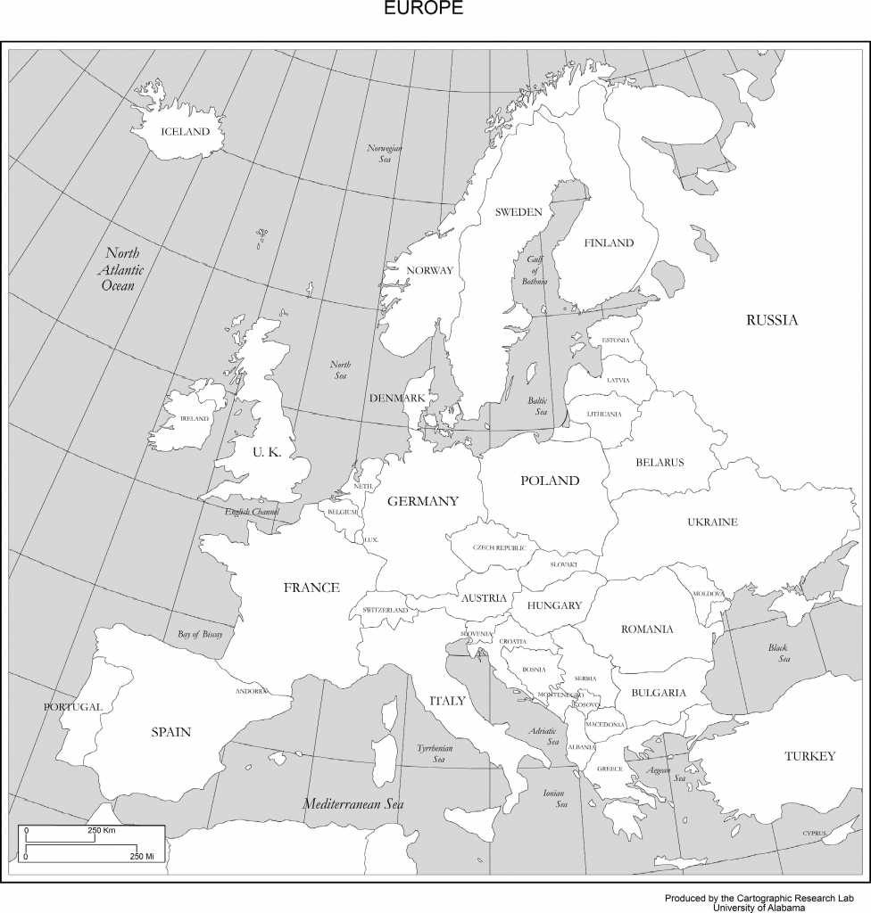 Maps Of Europe intended for Printable Black And White Map Of Europe