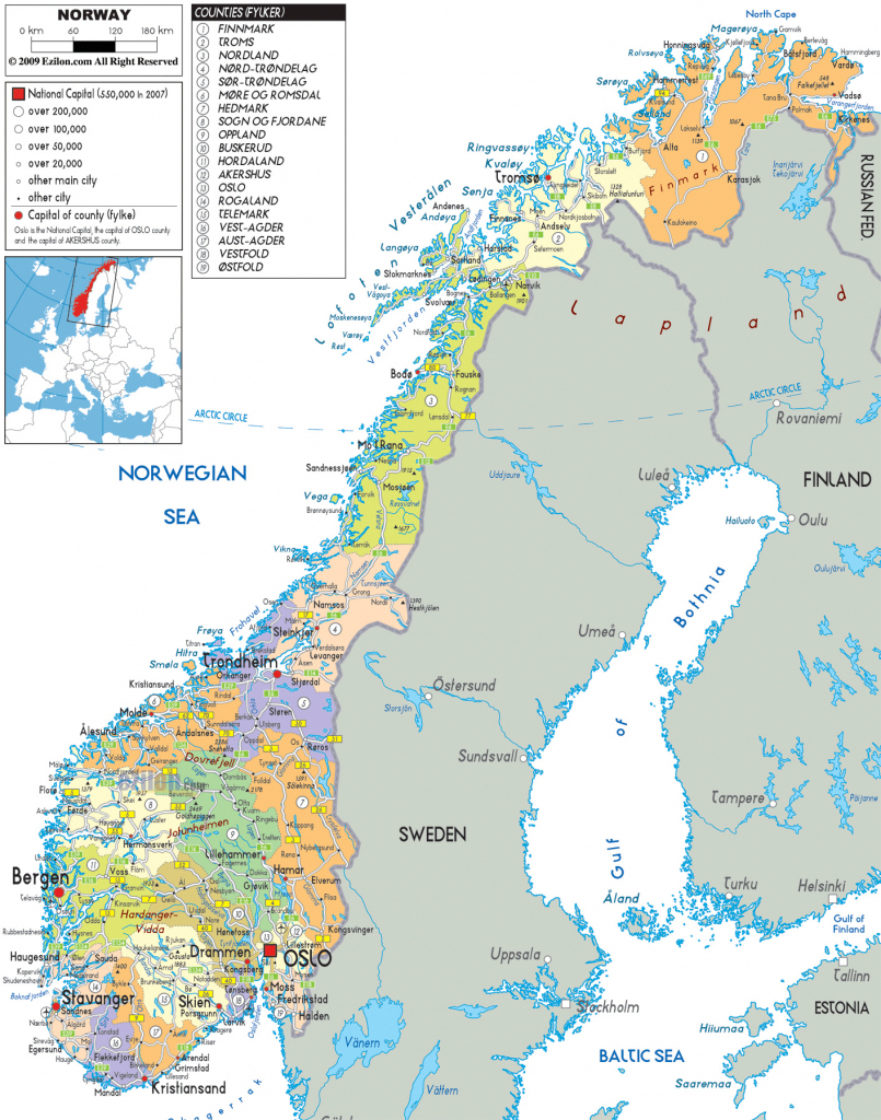 Maps Of Norway | Detailed Map Of Norway In English | Tourist Map Of for Printable Map Of Norway