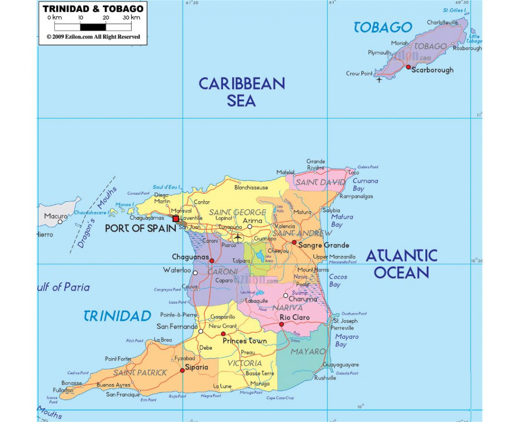 Maps Of Trinidad And Tobago | Collection Of Maps Of Trinidad And intended for Printable Map Of Trinidad And Tobago