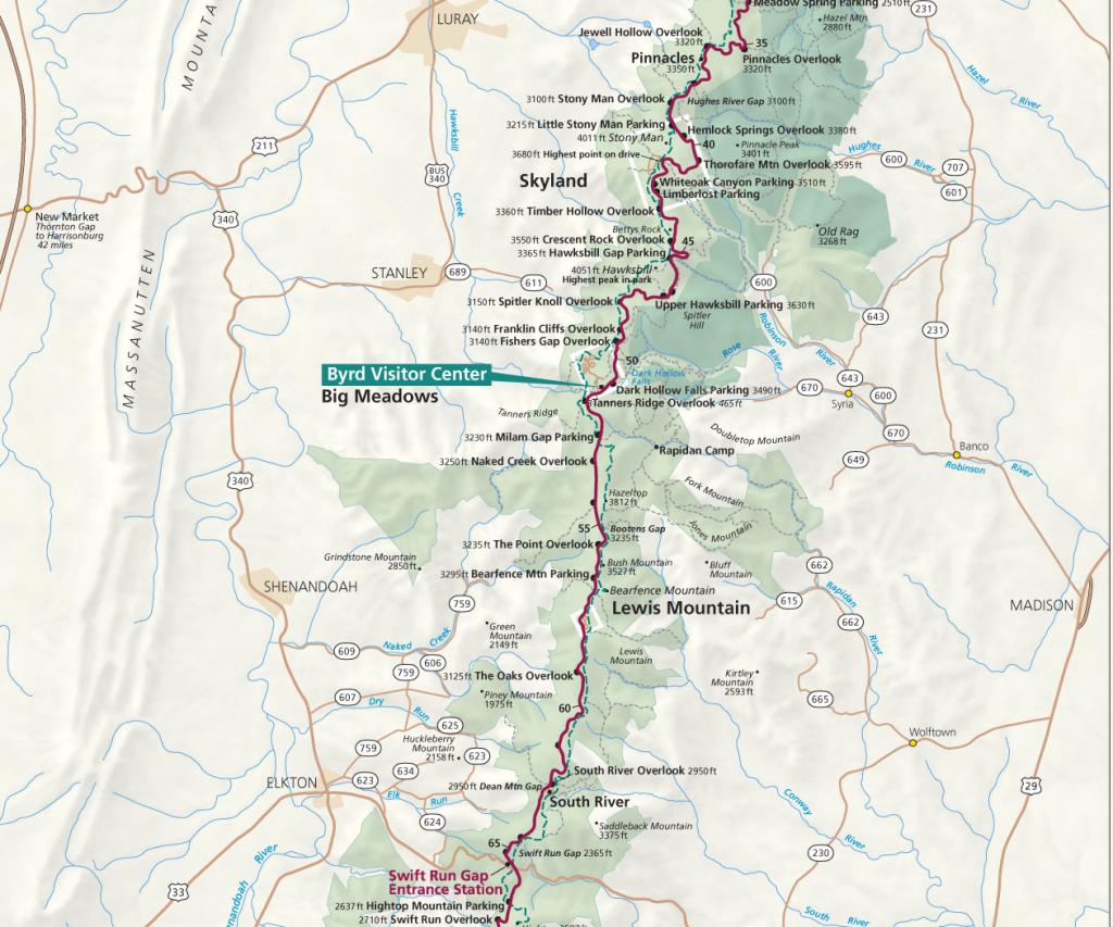 Maps - Shenandoah National Park (U.s. National Park Service) regarding Printable Appalachian Trail Map