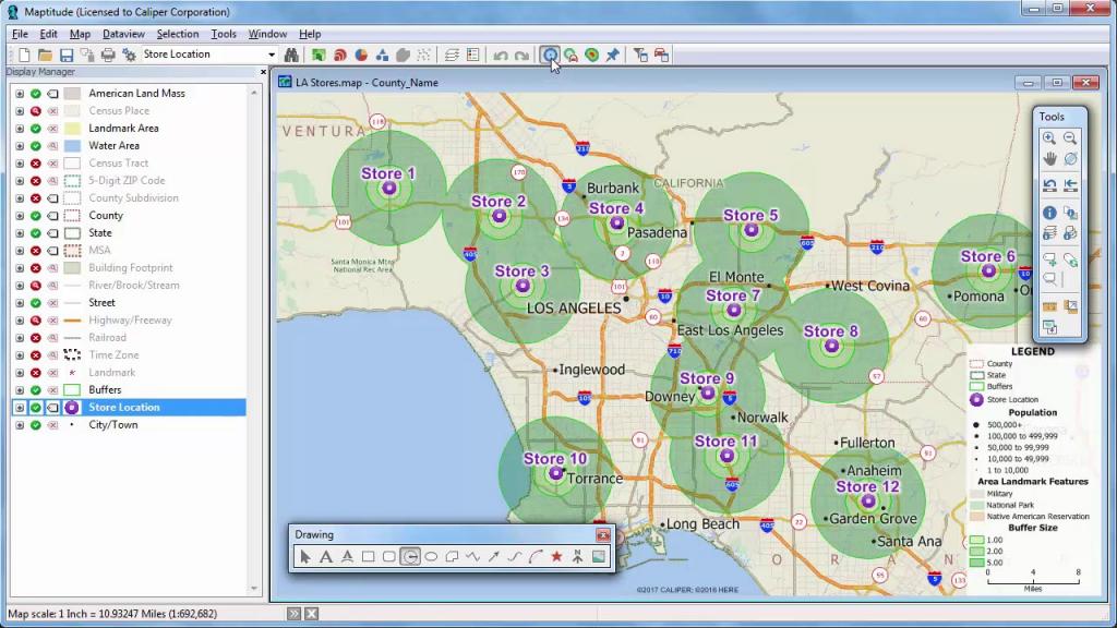 Maptitude 2018 Rings, Radius, Radii, Maps With Demographics - Youtube pertaining to Printable Radius Map